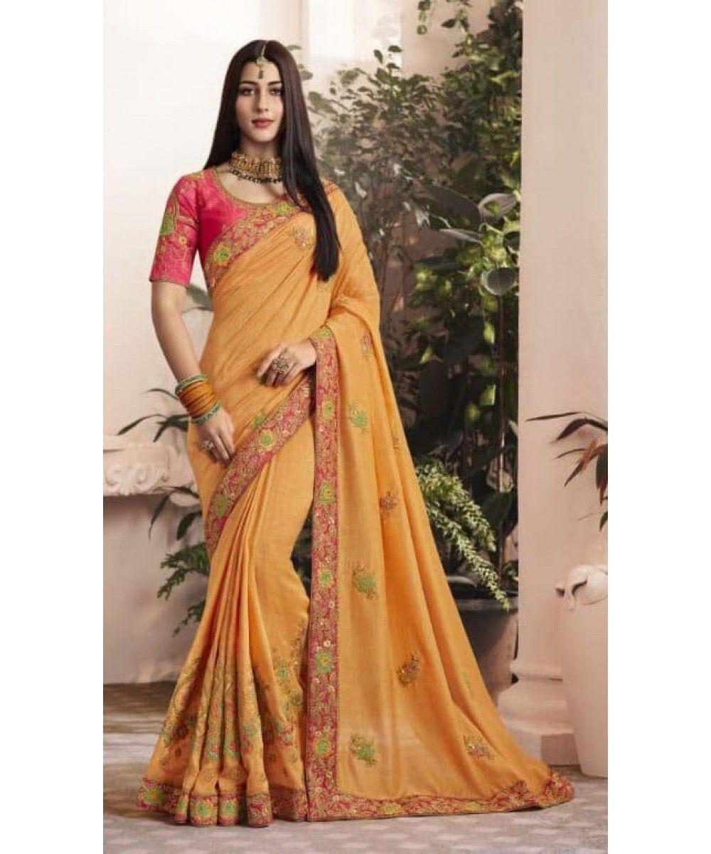 2e36e91bf5a08d Orange Embroidery Saree | India US UK Toronto Durban Sydney | NEW ...