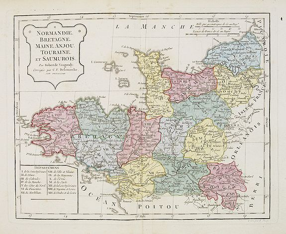 Map of Normandy Brittany Maine Anjou Tourraine and the Saumur