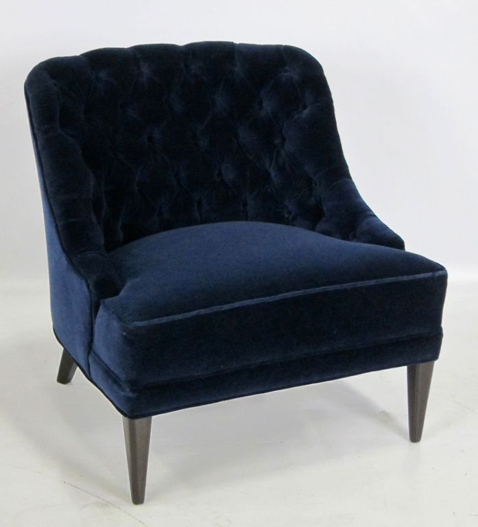 Elegant Pair Of Navy Blue Velvet Tufted Back Lounge Chairs