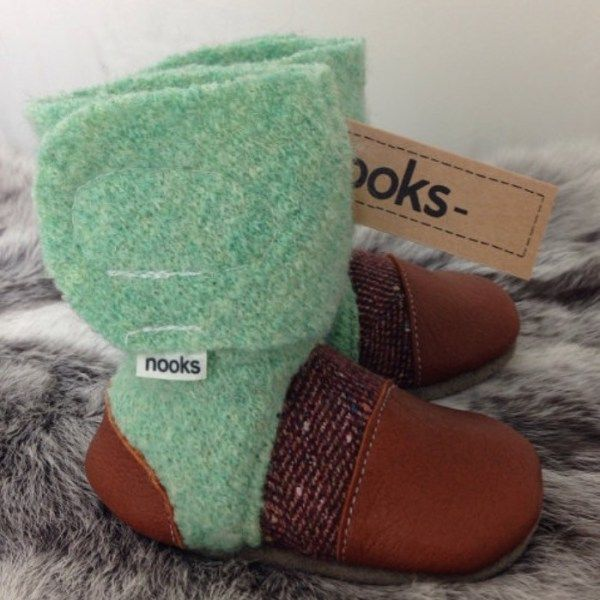 6354682b503df Nooks sling boots - cute stylish warm made in Canada from moccasin hide and  upcycled wool