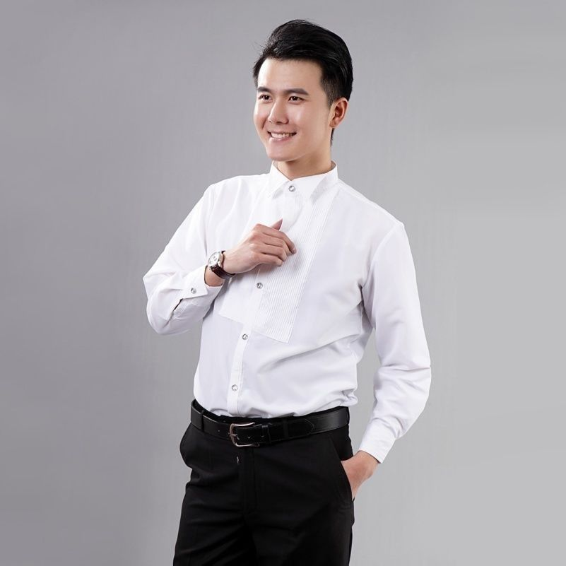 Men Gents White Wing Collar Pleated Front