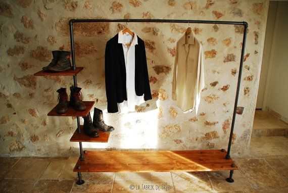 garment rack industrial pipe clothing rack wall mounted. Black Bedroom Furniture Sets. Home Design Ideas