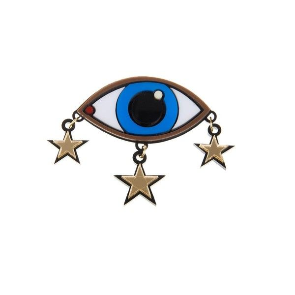 YAZBUKEY BROOCH EYE WITH STAR CHARMS PL Blue Multi ($112) found on Polyvore