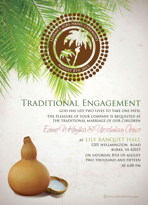 Nigerian Traditional wedding invitation Card, Igbo Engagement - engagement invitation cards templates