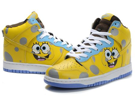 Cartoon Nike Dunks High Tops Spongebob Squarepants Custom Shoes