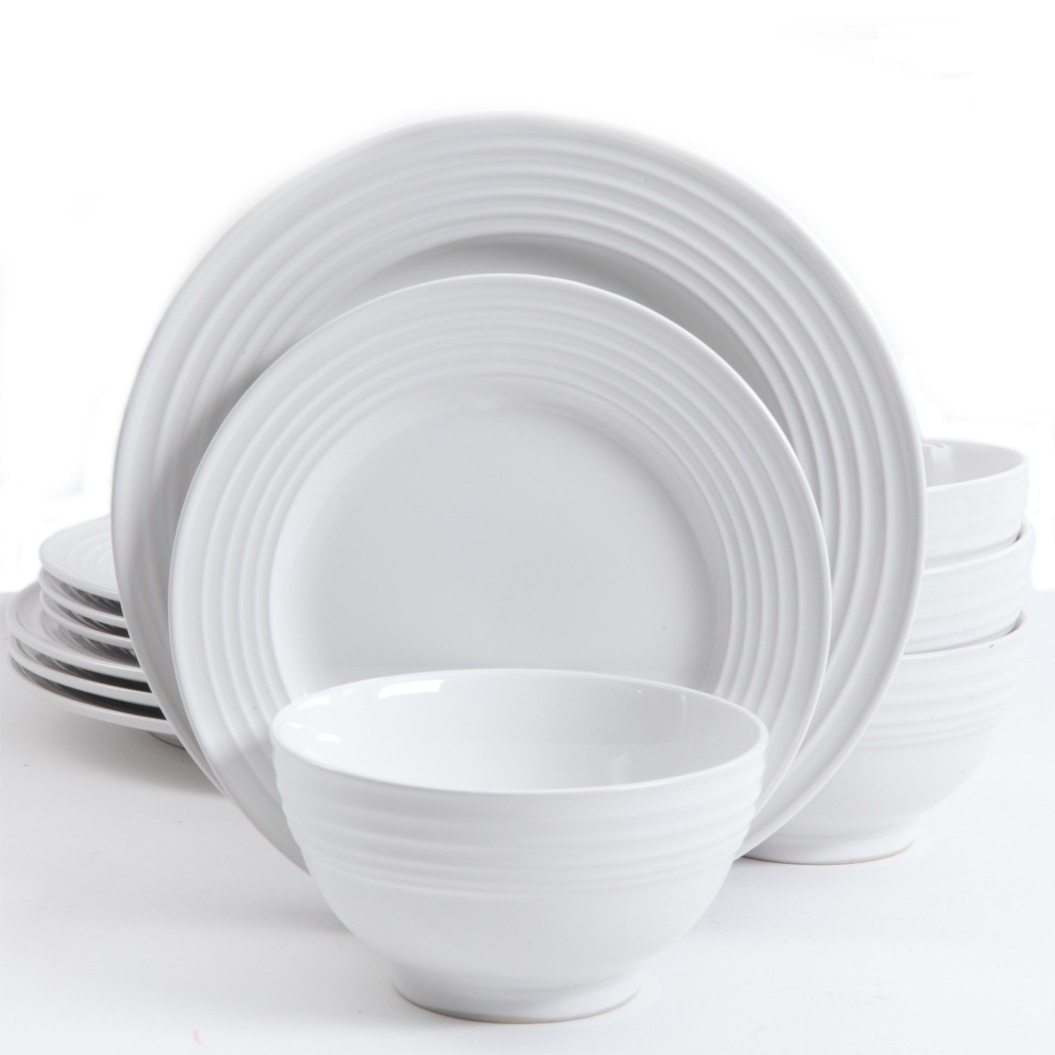 Gibson Home Plaza Cafe 12 Piece Dinnerware Set White Gibson Home Dinnerware Rustic Dinnerware White dinnerware sets for 12