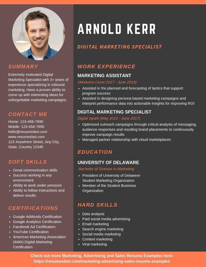 Digital Marketing Specialist Resume Samples Templates Pdf Doc 2020 Digital Marketing Specialist Resumes Bot Resume Examples Digital Marketing Marketing Resume