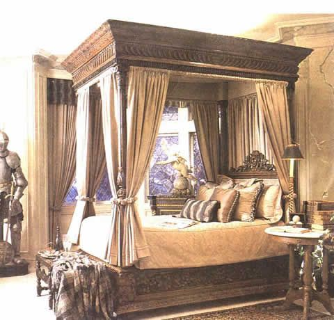 Circa 1600 Style Four Poster Bed Carved 4 Poster Bed Canopy Bed