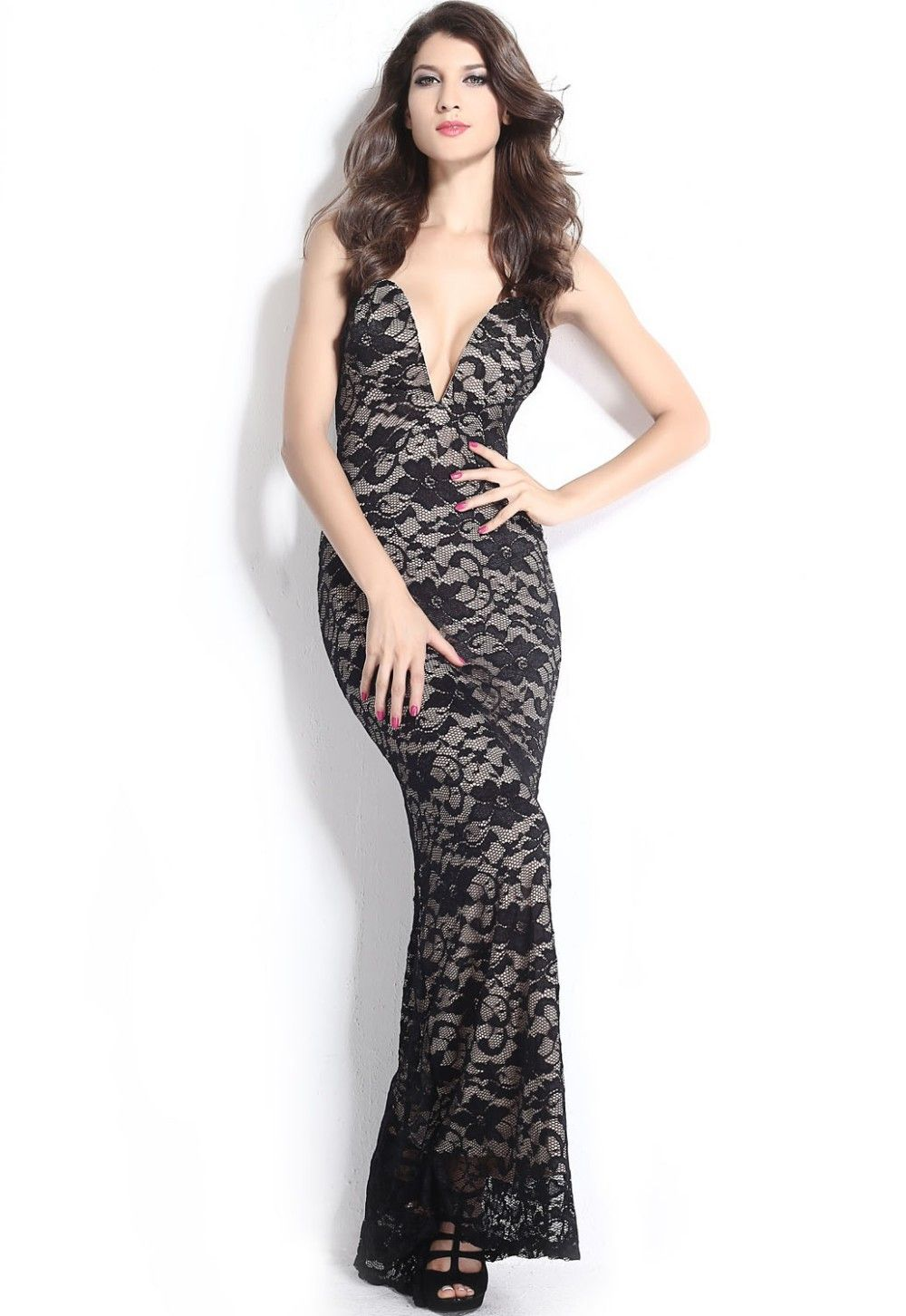 New black lace nude illusion plunging v neck strapless gown new