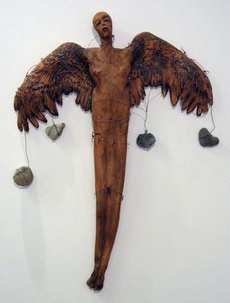No. 5 from Earth Bound Angel Series (Anita Rocamora), 1992: Earthenware, wire, ribbon; Hand built. Private Collection