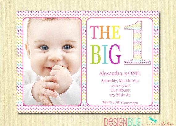 Rainbow First Birthday Invitation Baby Girl By DesignBugStudio 1400