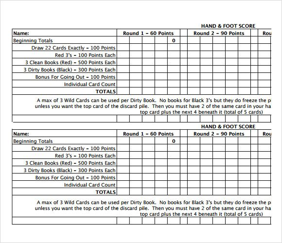Great Hand And Foot Score Sheet Template