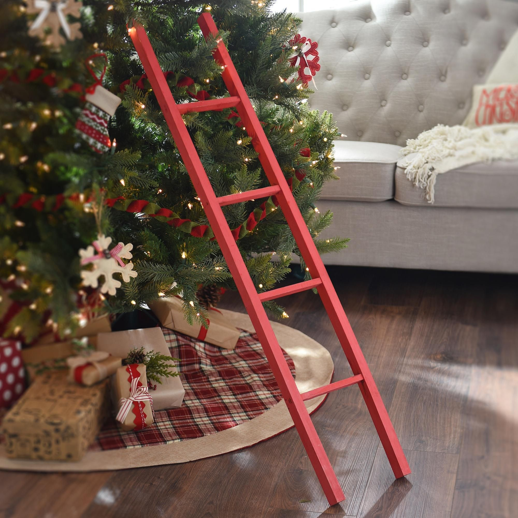 Red Wooden Ladder Christmas Decorations Farmhouse Christmas Decor Elf Christmas Tree