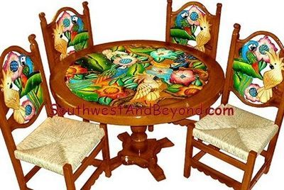 Mexican Carved Flower Table Hand Painted Sets