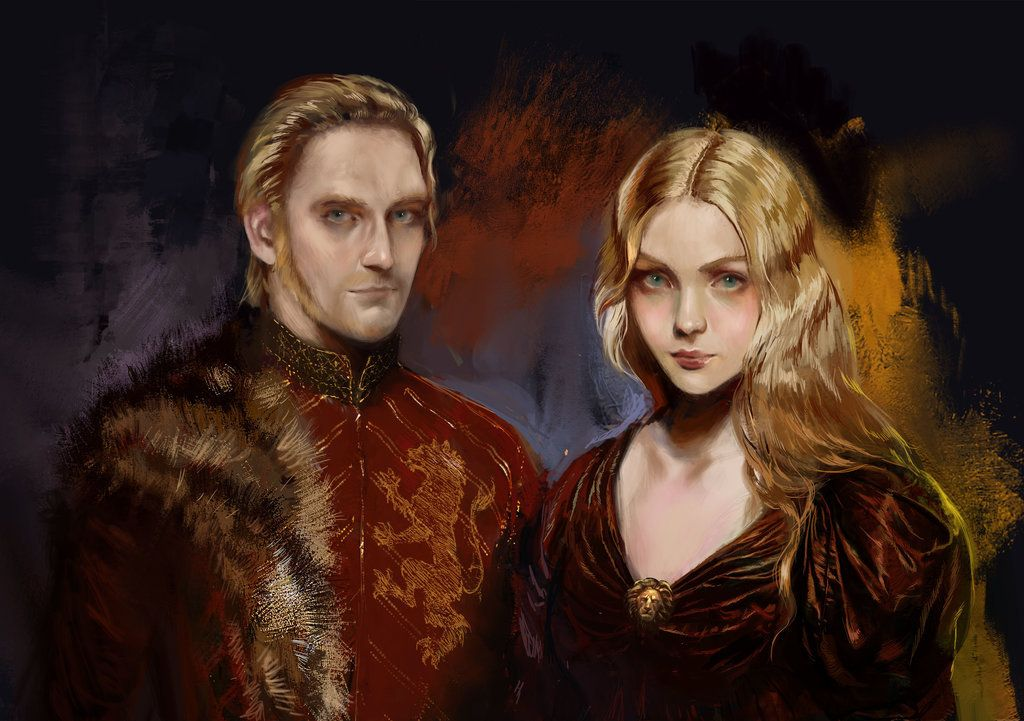 """joannalannister: """" Tywin and Joanna Lannister by Berghots """"Only Lady Joanna truly knows the man beneath the armor, and all his smiles belong to her and her alone."""" """""""