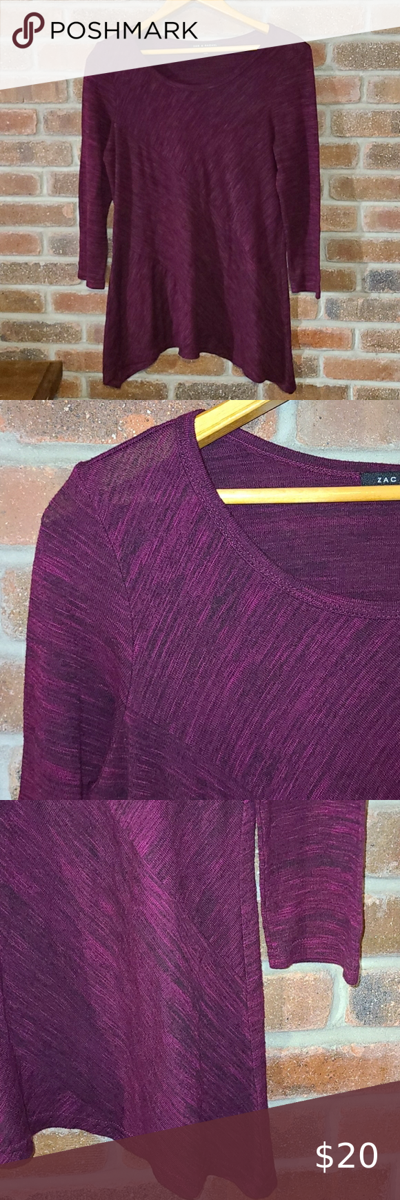 Zac & Rachel Tappered Bottom Blouse Excellent Used Condition Linear pattern weave Zac & Rachel Tops Blouses