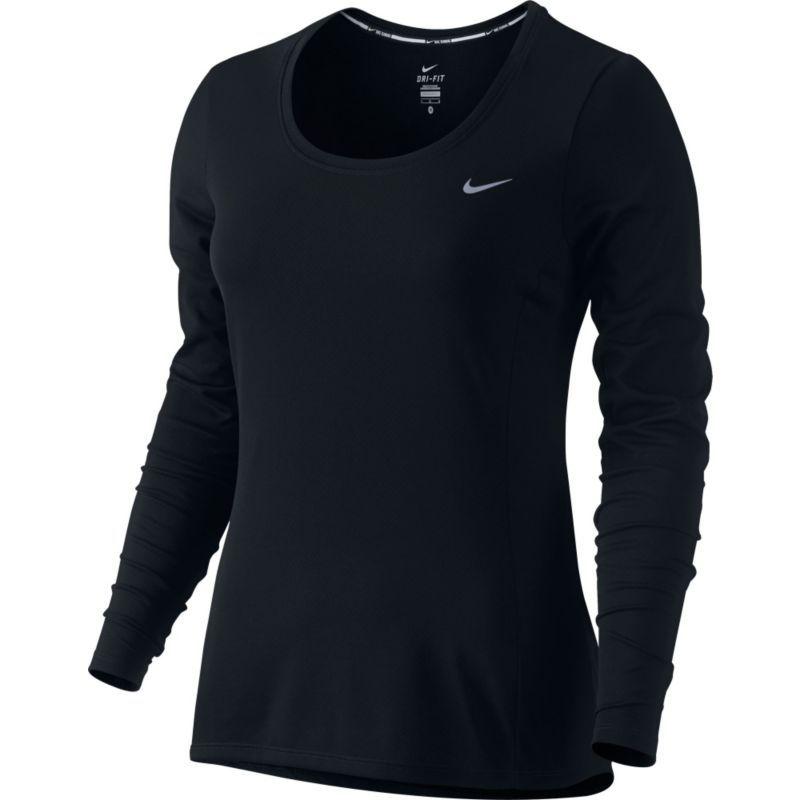 78d41d76f640e Nike Women's Dri-FIT Contour Long Sleeve Running Shirt, Size: Medium, Black