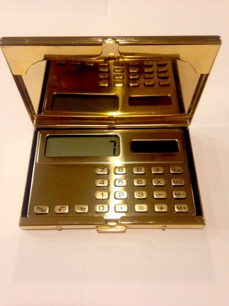 Vintage 24K Gold Plated Brass Solar Calculator Business Credit - sample time card calculator