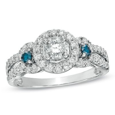 1 CT TW Enhanced Blue and White Diamond Three Stone Frame Ring in