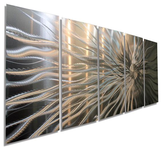 Large Silver Contemporary Metal Wall Decor, Abstract Metal Wall Art