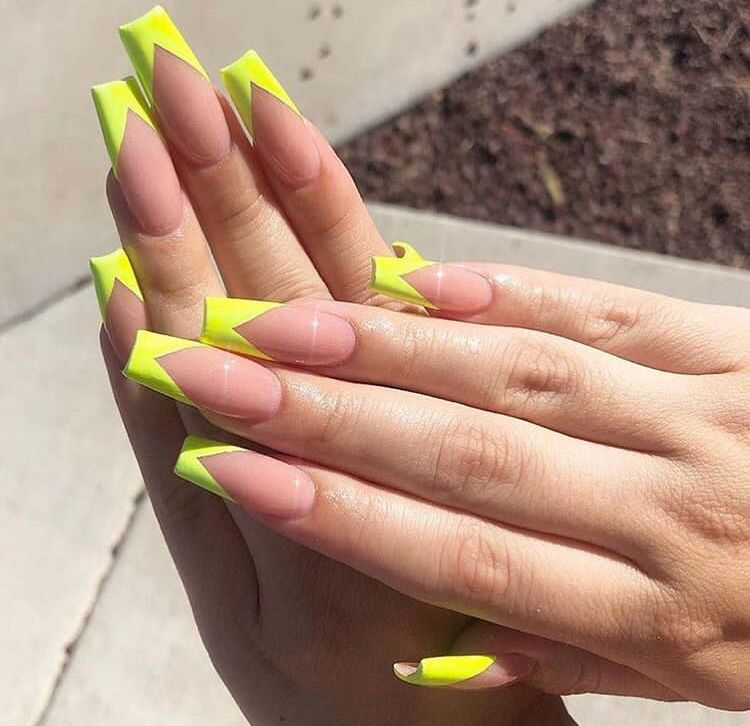 25 Latest French Tip Nail Art Designs French Tip Nail Designs Square Nail Designs Neon Acrylic Nails