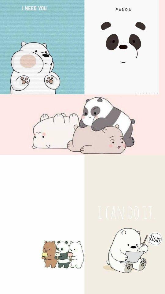 We Bare Bears Boneka Hewan Ilustrasi Karakter Kartu Lucu