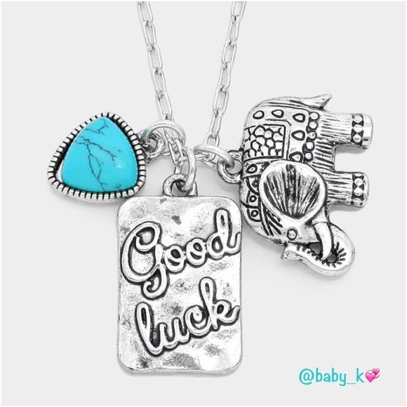 "Good Luck Elephant Turquoise Necklace NWT - Antique silver ""Good Luck"". Metal disk, Elephant and Turquoise Pendant charms necklace - 17"" + 3"" extension. Boutique Jewelry Necklaces"