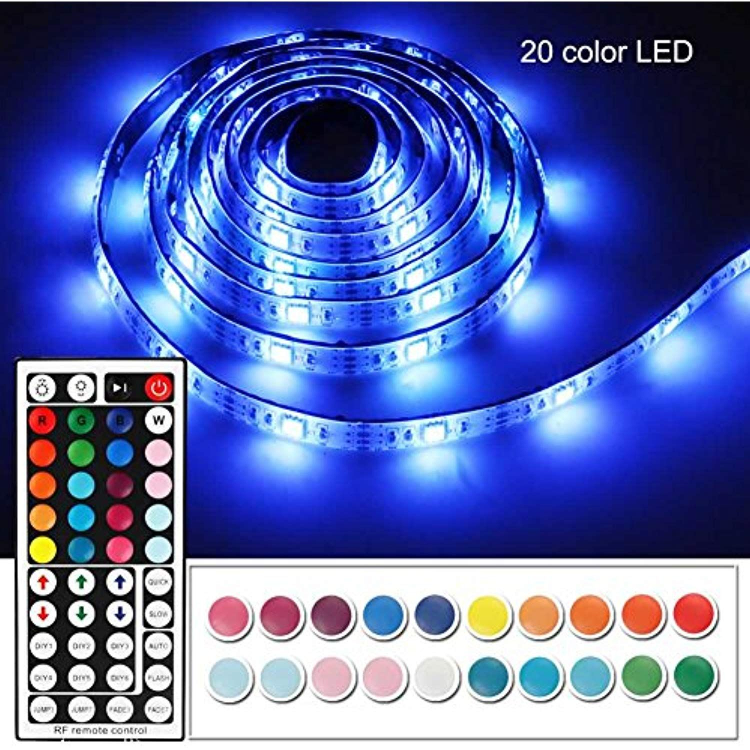 Battery Powered Led Strip Lights With 44 Keys Rf Remote Imenou Usb Battery Operated Flexible Waterproof Col Rgb Led Lights Led Strip Lighting Led Light Strips