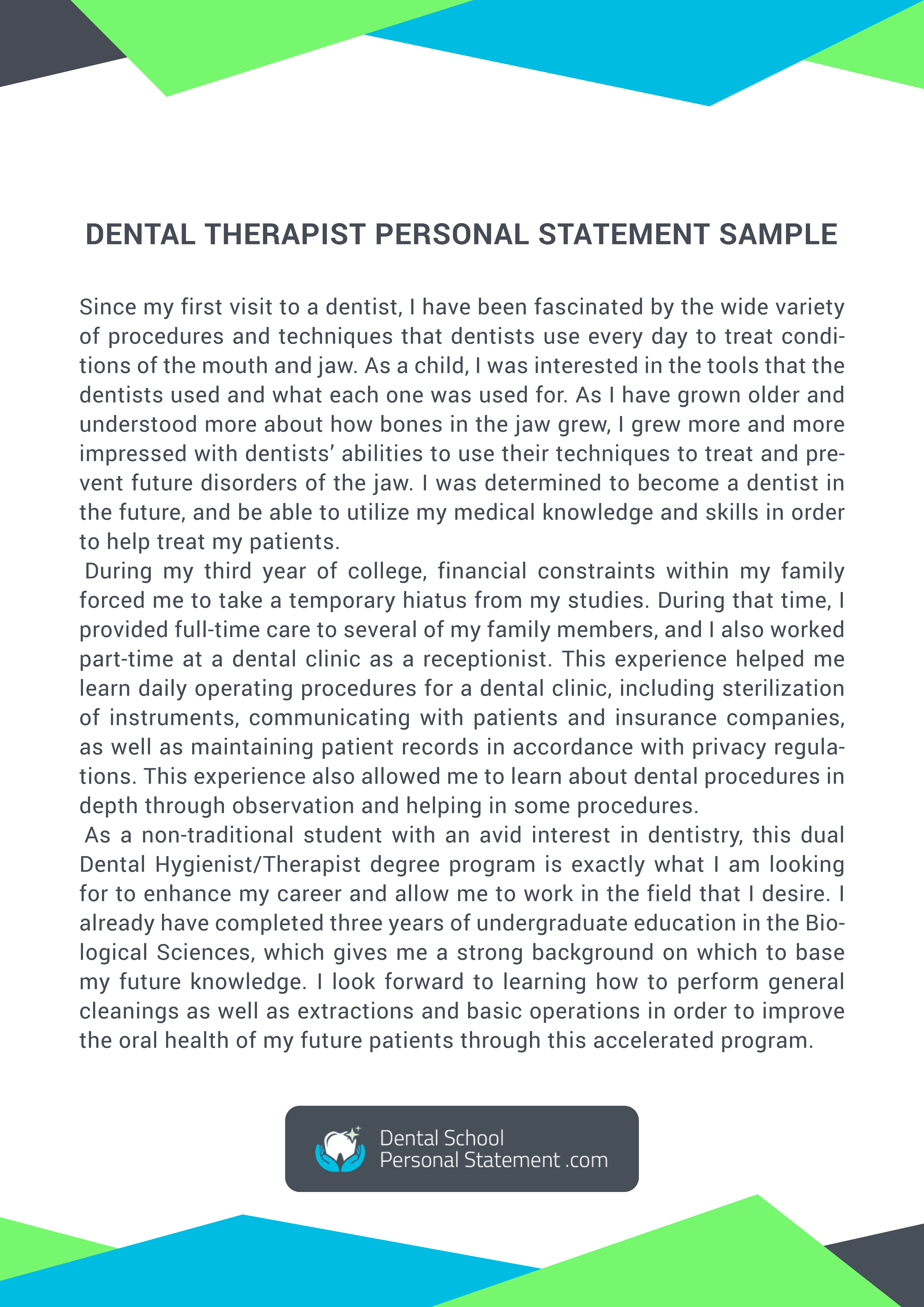 Check Thi Site And Get Help From Dental Hygiene Personal Statement Sample For More Sampl Example Dentistry Tips Tip