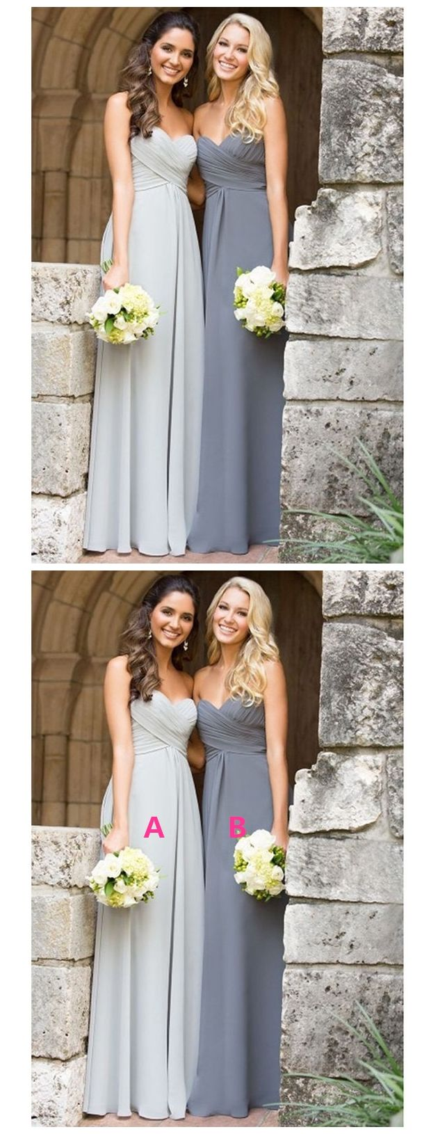 Strapless long chiffon sweetheart grey mismatched bridesmaid dresses