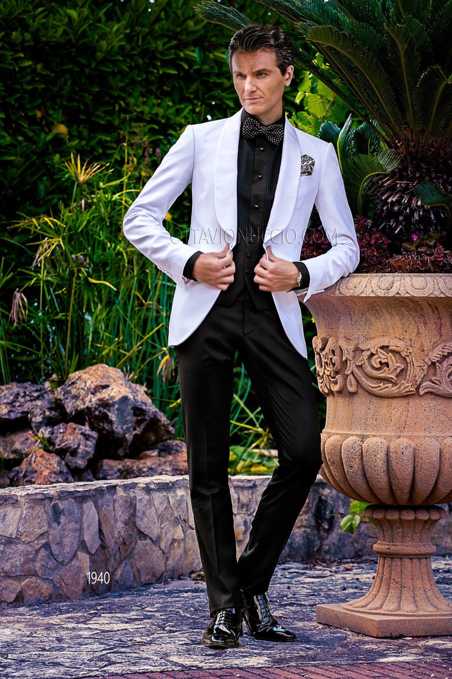 White And Black Italian Wedding Tuxedo Groom Suit Luxury Menswear Dapper