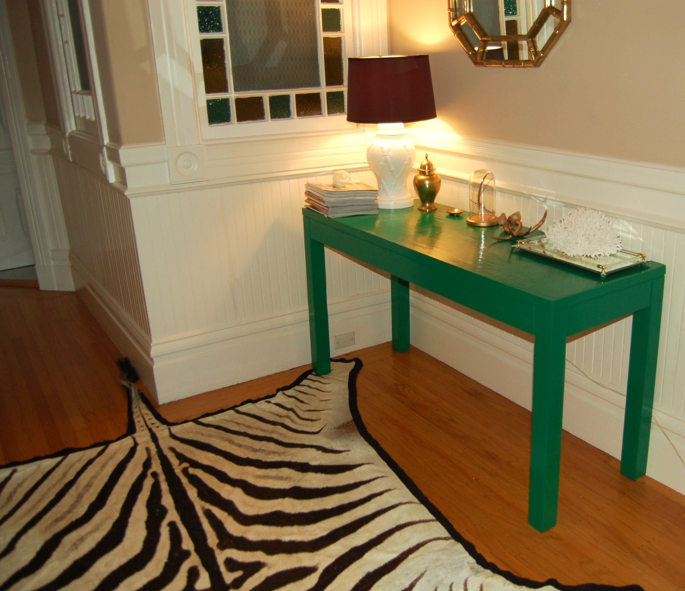 Kelly Green Lacquered Console Table And Zebra Skin Rug   We Refurbished The  Table. Amazing Ideas