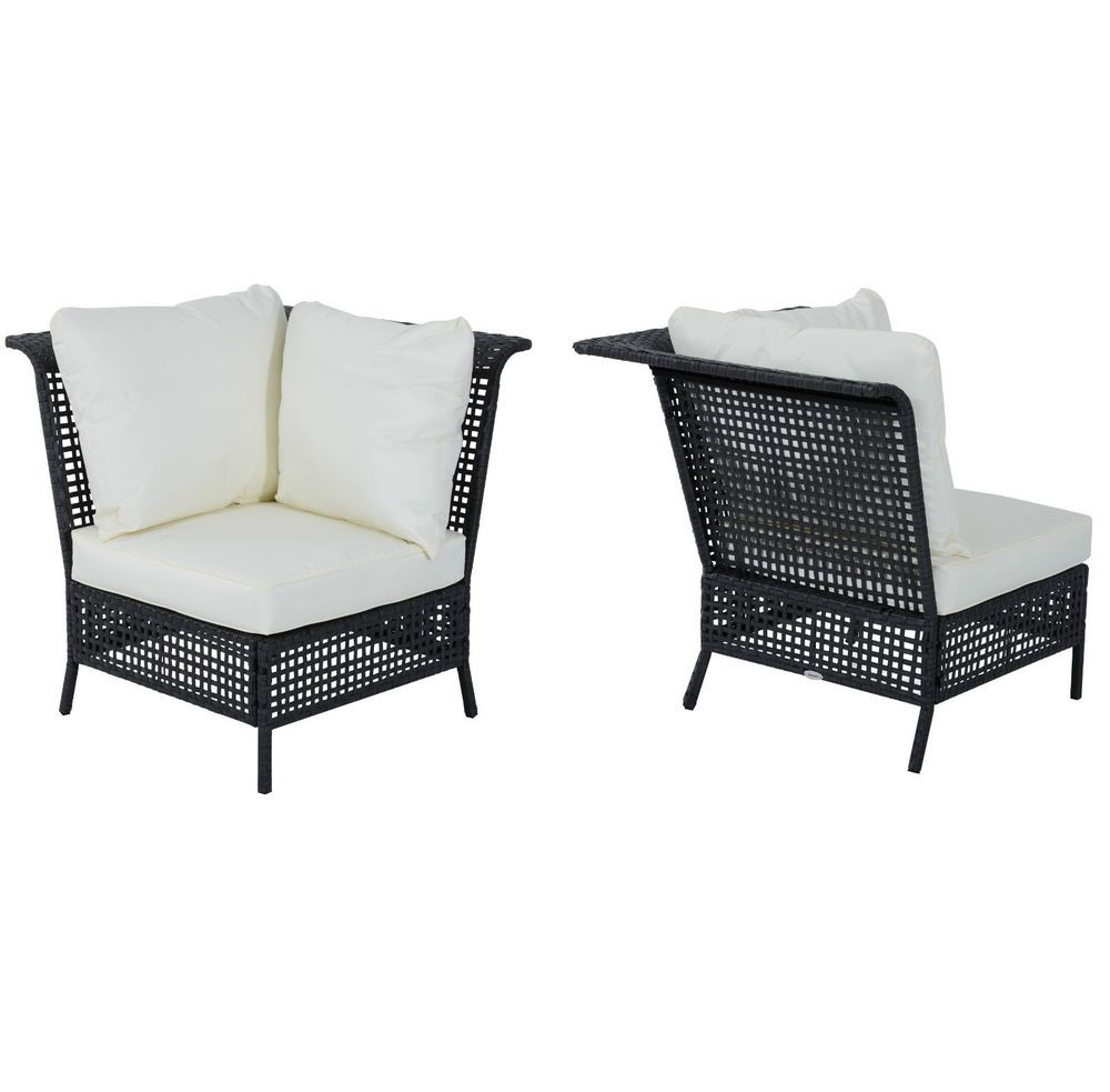 Rattan Garden Chair Sofa Outdoor Corner Patio Conservatory Seat Black Cushions Rattan Garden Chairs Garden Chairs Sofa Chair