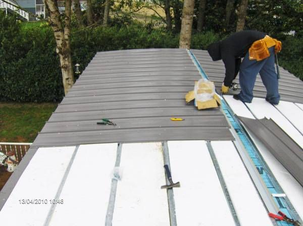 Mobile Home Roof Over Install One Inch Thick Styrofoam Insulation Between The Metal Furring St Mobile Home Roof Remodeling Mobile Homes Mobile Home Exteriors