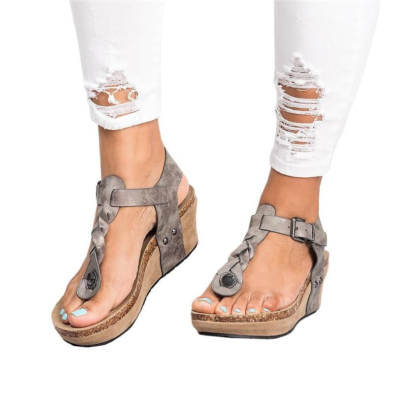 d43a1b5292b Chellysun Women s Boho Braided Wedge T-Strap Sandals summer comfortable  strappy Gladiator leather resort sandals shoes  sandals  bohochic   bohostyle  wedges ...