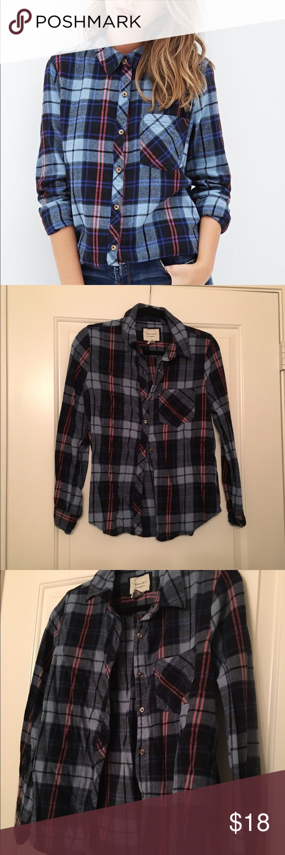 Forever 21 Tartan Plaid Flannel Shirt Extremely soft flannel, very cozy and warm, good for layering, has pretty blue navy flannel with small pink stripes as accents. Forever 21 Tops Button Down Shirts