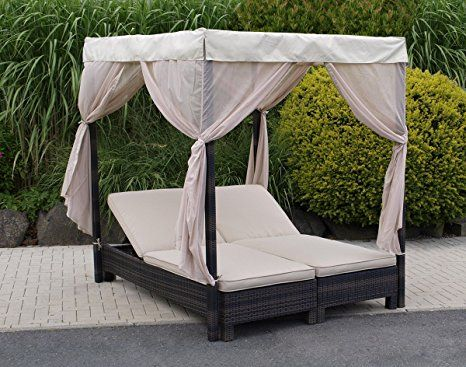 doppelliege mit baldachin antibes alu polyrattan mocca. Black Bedroom Furniture Sets. Home Design Ideas