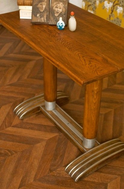 30s 1930 Bistro Table Vintage Bistro Table Zing Wooden Table Table Bistrot Deco Vintage Decor De Patio