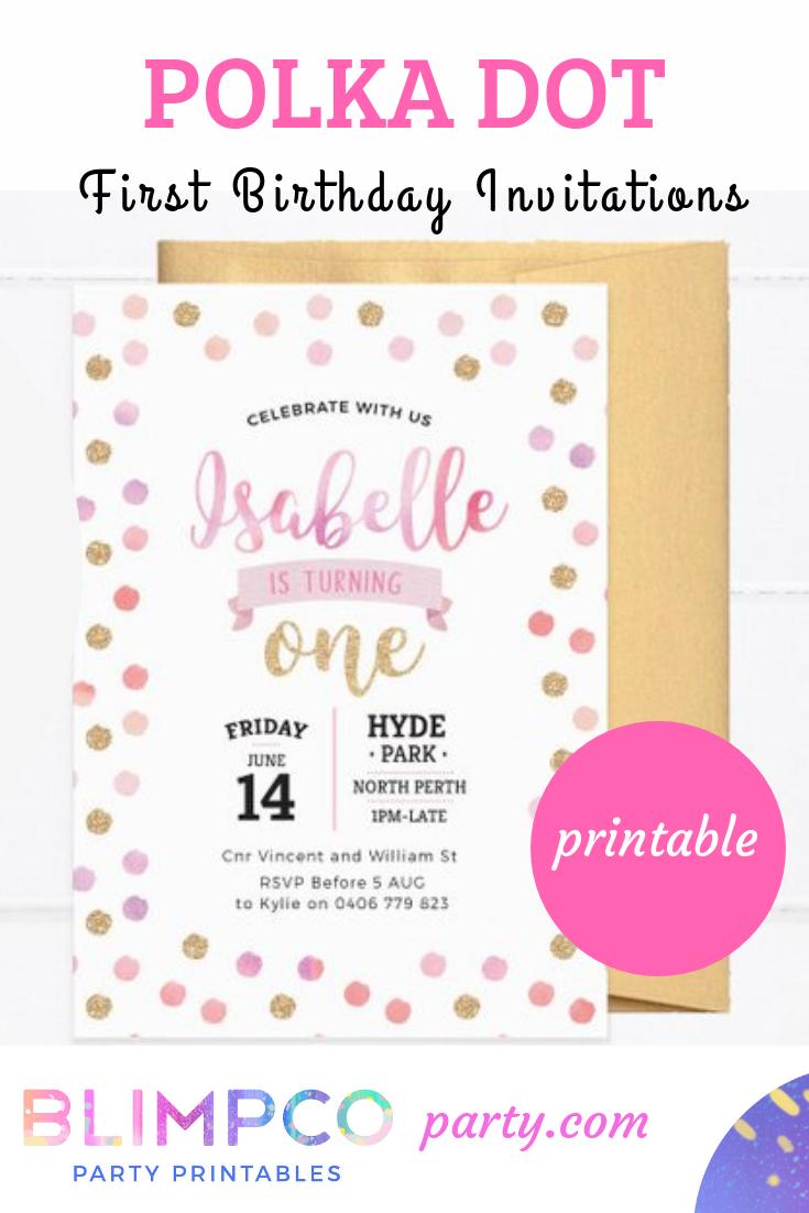 1st Birthday Invite Printable Polka Dot First Birthday Etsy Birthday Party Invitations Printable First Birthday Invitations 1st Birthday Party Invitations