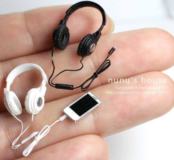 1//12 Scale Dollhouse Miniature Accessories Black Earphone Headphone T Tw
