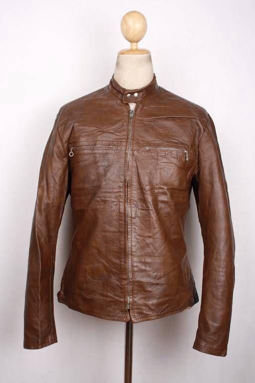 Vtg 70s Harley Davidson Amf Cafe Racer Leather Motorcycle Jacket