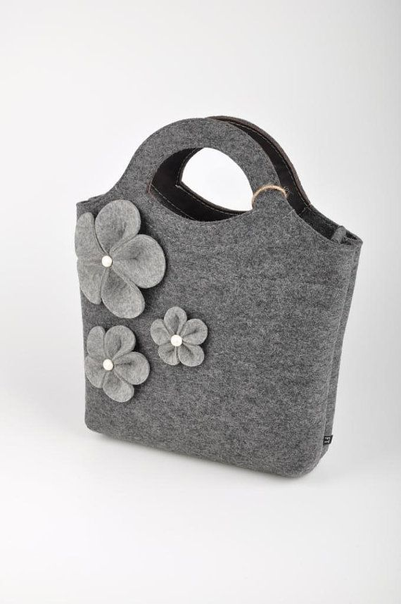 "Photo of Items similar to Orange Felt Bag ""Bianca"". Original, beautiful and with flowers. Made from natural (100% wool) felt premium quality 3mm thick. on Etsy"