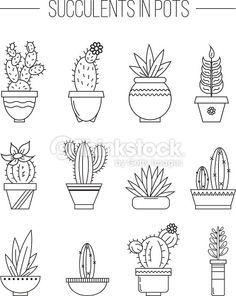 Clipart vectoriel : Set of succulent plants and cactuses in pots. #仙人掌 #cacti…