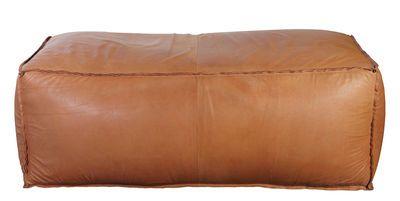 Soft Brick Pouf Real Leather 120 X 60 Cm 120 X 60 Cm Brown