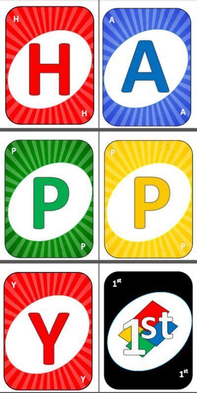 Printable Uno Card Cards Happy Happy Birthday Banner Printable Happy Birthday Games Uno Cards