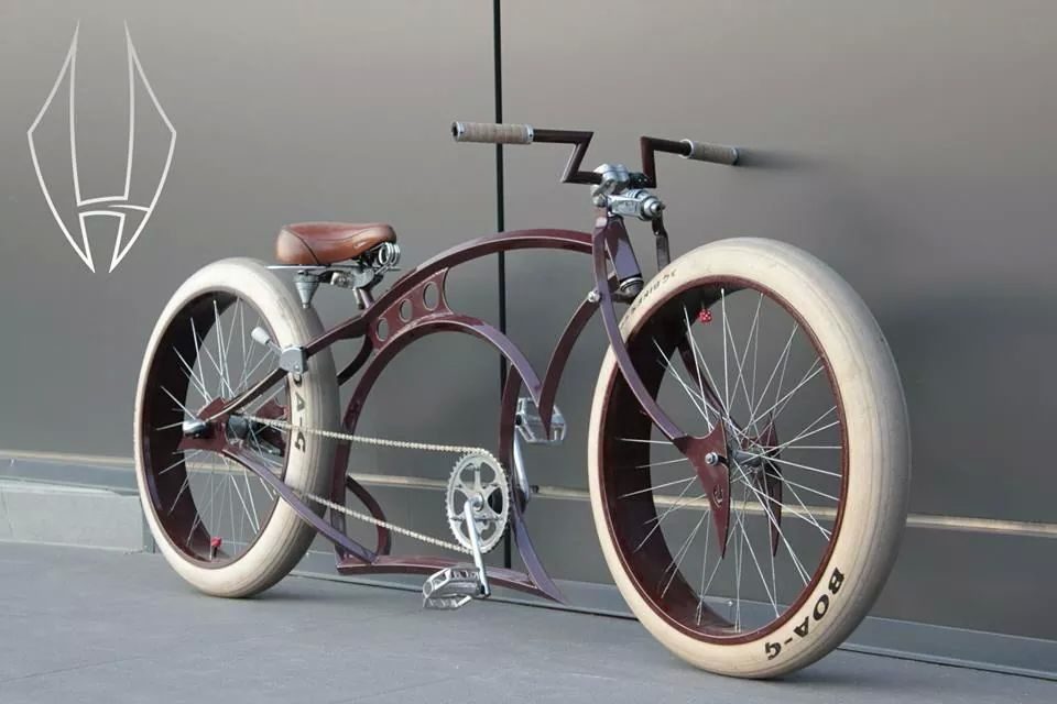 White Tires On Brown Custom Cruiser Sweet Handlebars