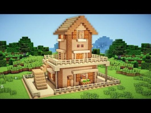 Minecraft survival house tutorial how to build  in youtube furnituredesigns also rh pinterest