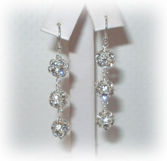 Bliss 3 Ball Earrings Bridal earrings Bridesmaids by livelovebead, $24.00
