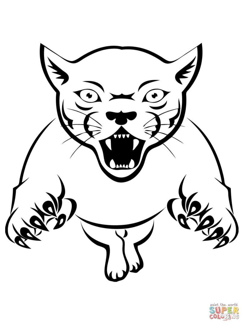 Walking Mountain Lion coloring page | Free Printable Coloring Pages | 1073x805