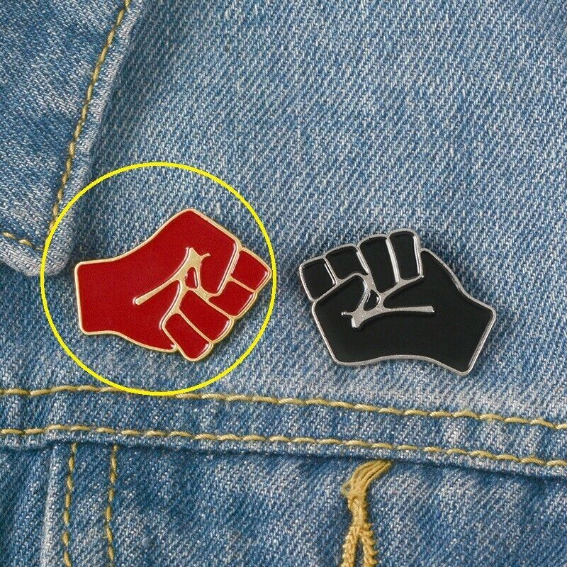 Red Resistance Raised Fist of Solidarity Pin Order Badge Symbol Brooche Emblem